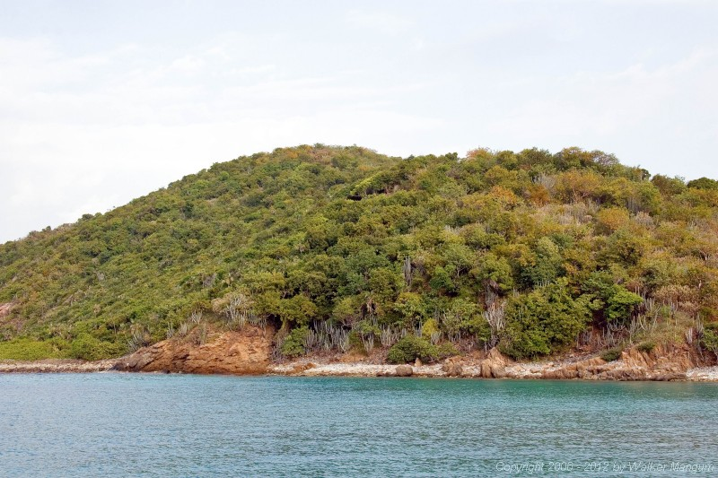 View from Scrub Island isthmus beach. Wali Nikiti construction is in center of hill.