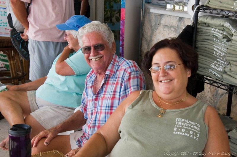 Vernon and Sheila watching the Dark and Stormy lay day dinghy races at Neptune's Treasure.