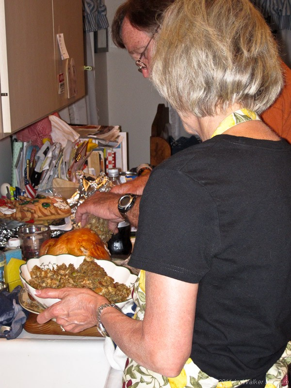 Carving the Christmas turkey in Palm Beach Gardens, Florida