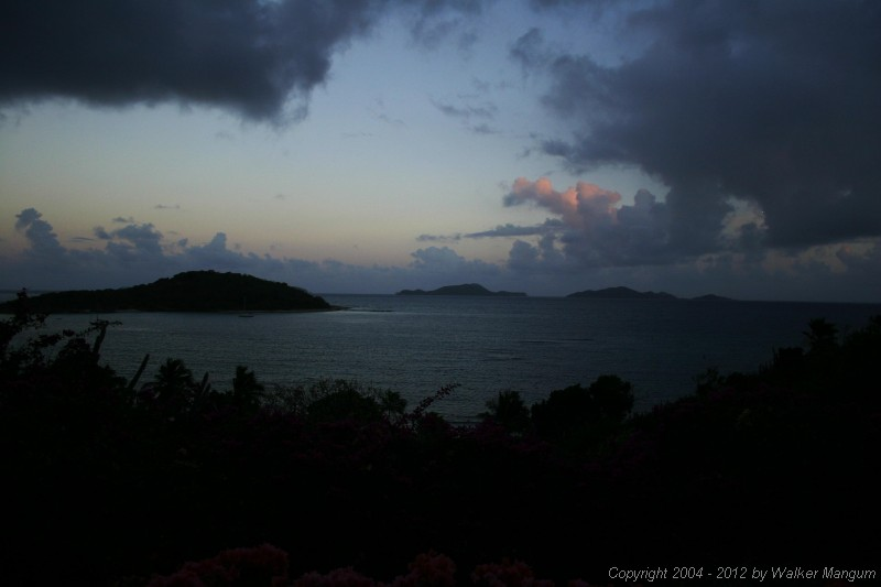 View from the Pugliese's, Tortola. Tip of Buck Island on left, Cooper Island and Salt Island in the distance.