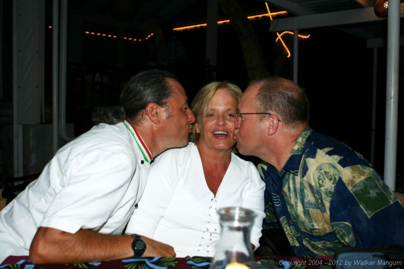 Everyone gets kisses at Brandywine Bay! Davide with Bob and Donna Nelson.