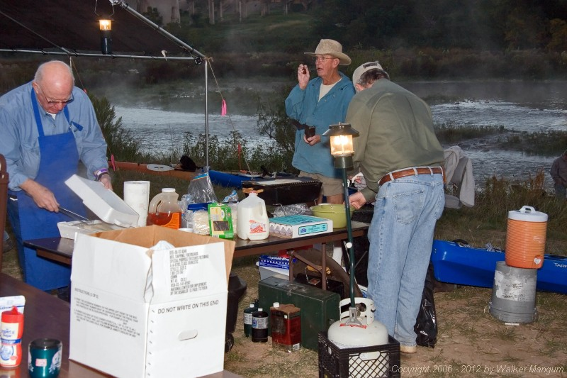 Breakfast time - Java Ranch provided burritos and coffee by the Llano.
